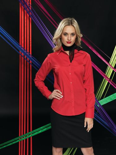 Ladies Poplin Long Sleeve Shirt (Damenbluse/Langarm) 105 g/m² Burgundy